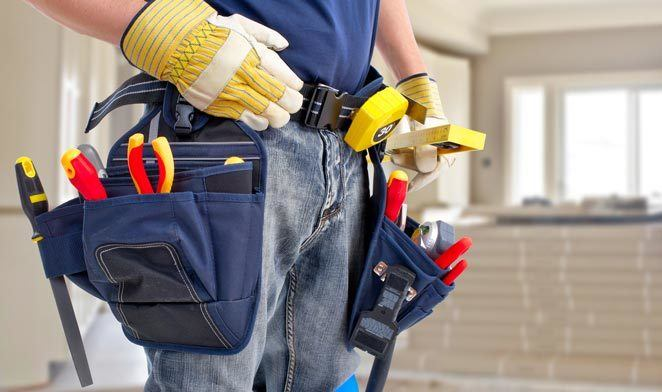 Clean construction worker with work belt