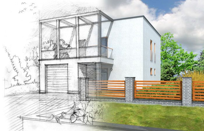 New home construction illustration