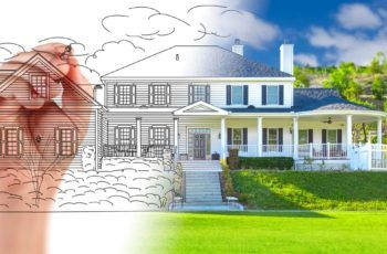 Concept of custom home from blue prints to finished product