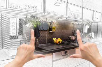 Pair of hands envisioning new kitchen remodel